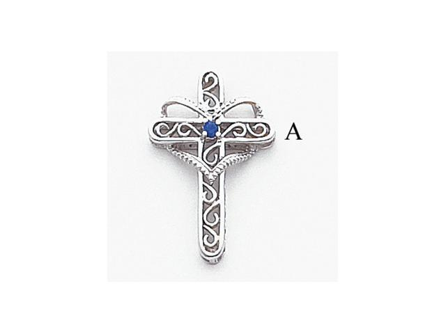 14k White Gold Polish Filigree 1-Stone Mothers Cross Pendant Mounting