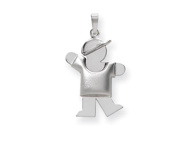 14k White Gold Puffed Boy with Hat on Left Engraveable Charm