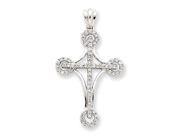 14k White Gold Diamond Cross Pendant Diamond quality AA (I1 clarity, G-I color)