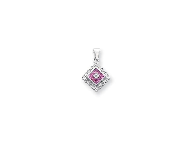 14k White Gold Diamond and Pink Sapphire Pendant Diamond quality AA (I1 clarity, G-I color)