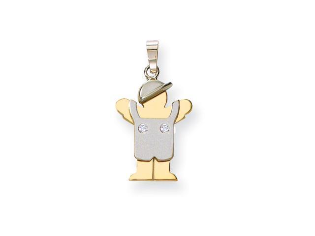 14k Two-tone AA Diamond kid pendant Diamond quality AA (I1 clarity, G-I color)