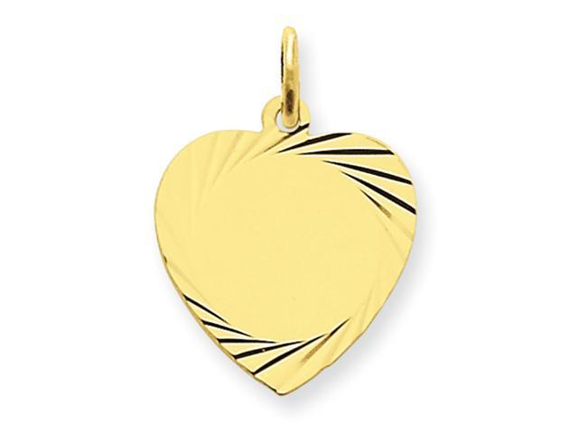 14k Etched .027 Gauge Engraveable Heart Disc Charm