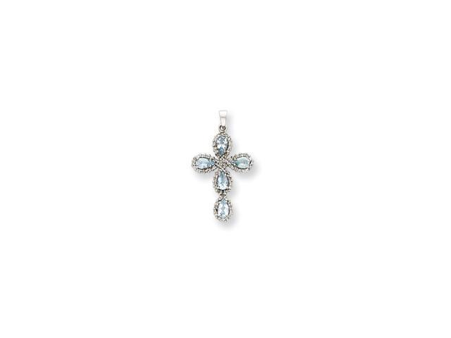 14k White Gold Diamond & Aquamarine Cross Pendant Diamond quality A (I2 clarity, I-J color)