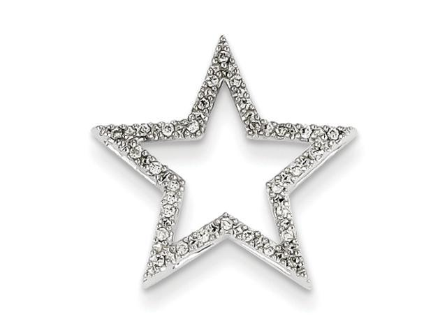 14k White Gold Small Diamond Star Pendant Diamond quality AA (I1 clarity, G-I color)