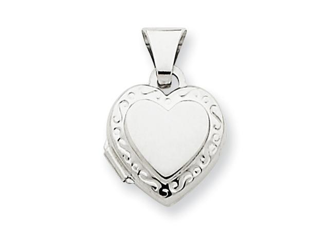 14k White Gold Polished Heart-Shaped Scrolled Locket
