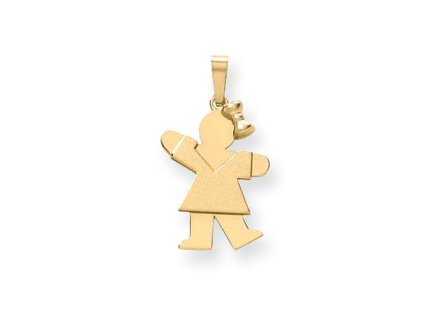 14k Solid Engraveable Girl with Bow on Right Charm