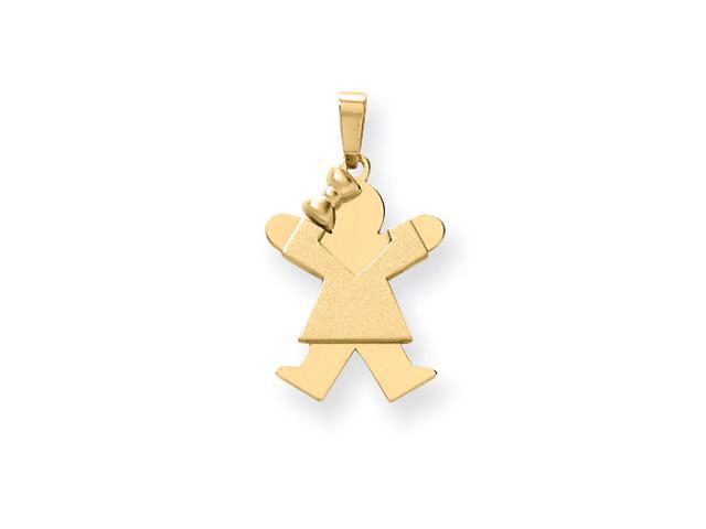 14k Solid Engraveable Girl with Bow on Left Charm