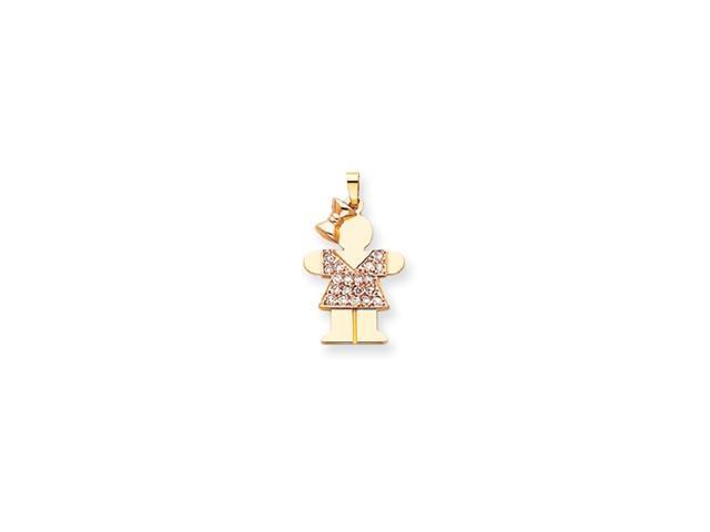 14k Two-tone AAA Diamond kid pendant Diamond quality AAA (SI2 clarity, G-I color)