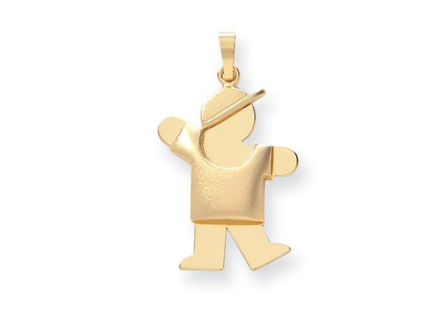 14k Puffed Boy with Hat on Left Engraveable Charm