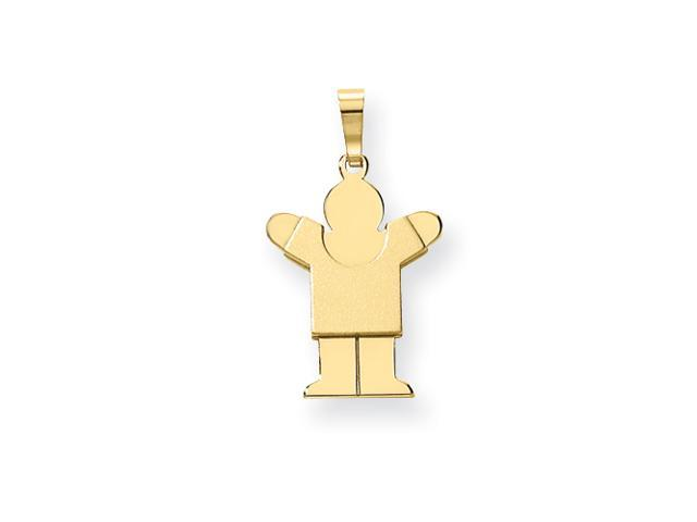 14k Solid Satin Engraveable Boy Charm