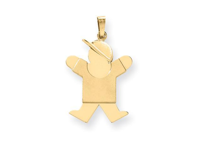 14k Solid Engraveable Boy with Hat on Right Charm