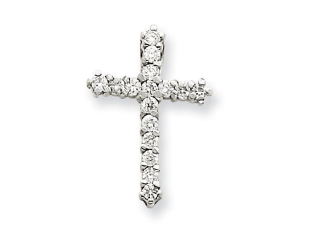 14k White Gold AA Diamond Cross Pendant Diamond quality AA (I1 clarity, G-I color)