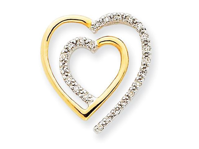 14k Two-tone Diamond Heart Pendant Diamond quality AA (I1 clarity, G-I color)