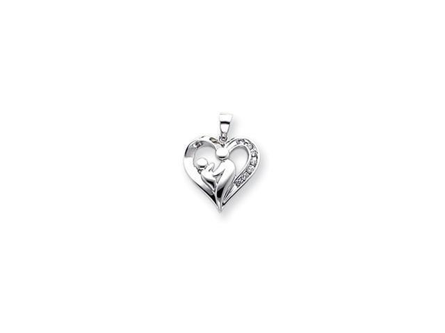 14k White Gold Mother & Baby Diamond Heart Pendant Diamond quality A (I2 clarity, I-J color)