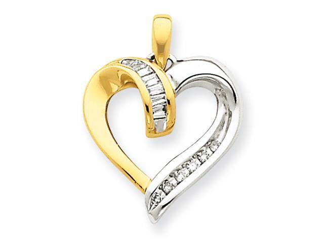 14K Two-Tone Diamond Heart Pendant Diamond quality A (I2 clarity, I-J color)