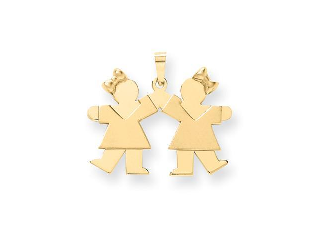 14k Solid Engraveable Small Double Girls Charm