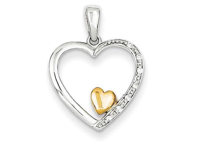 14k Two-tone Diamond Heart Pendant Diamond quality A (I2 clarity, I-J color)