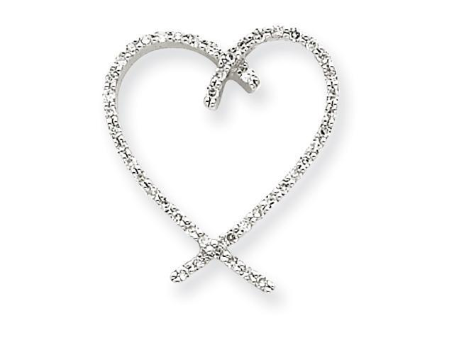 14k White Gold AA Quality Completed Diamond Vintage Heart Pendant Diamond quality AA (I1 clarity, G-I color)