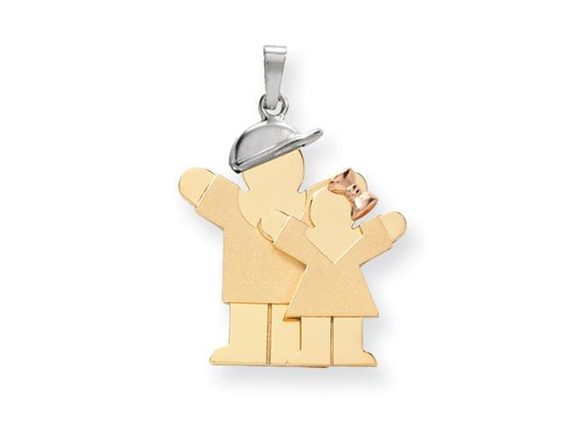 14k Tri-Color Big Boy & Little Girl Engraveable Charm