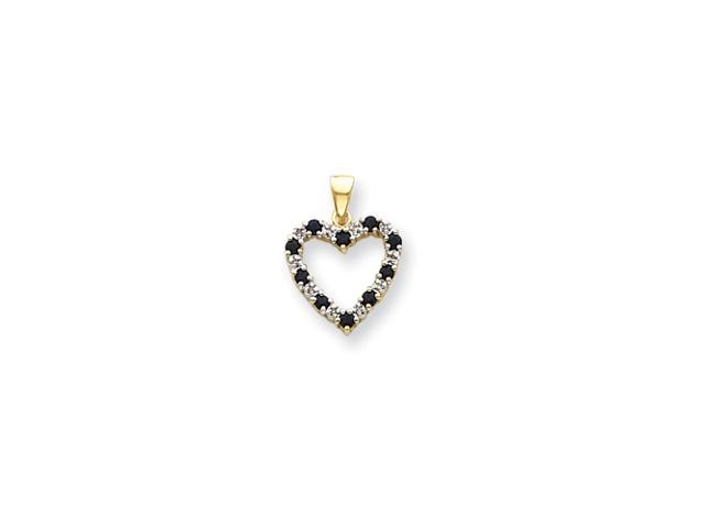 14k Diamond and Sapphire Heart Pendant Diamond quality AA (I1 clarity, G-I color)