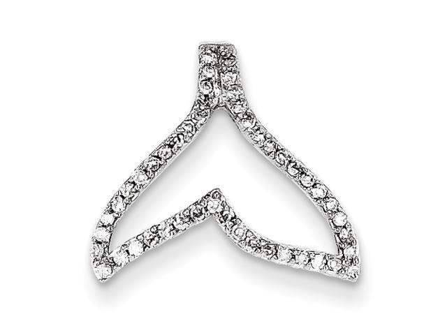 14k White Gold Diamond Whale Tail Pendant Diamond quality AA (I1 clarity, G-I color)