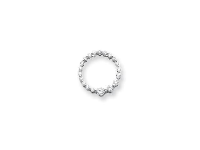 14k White Gold Diamond Circle Journey Pendant Diamond quality AA (I1 clarity, G-I color)