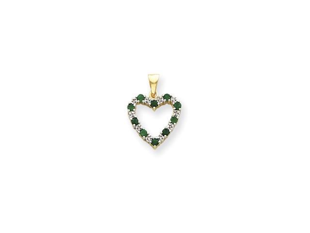 14k Diamond and Emerald Heart Pendant Diamond quality AA (I1 clarity, G-I color)