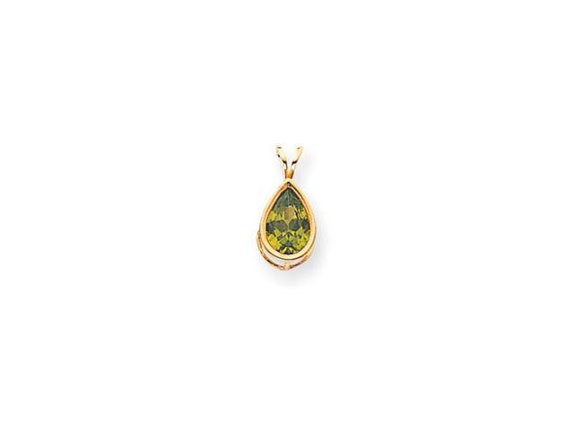 14k 10x7mm Pear Peridot bezel pendant