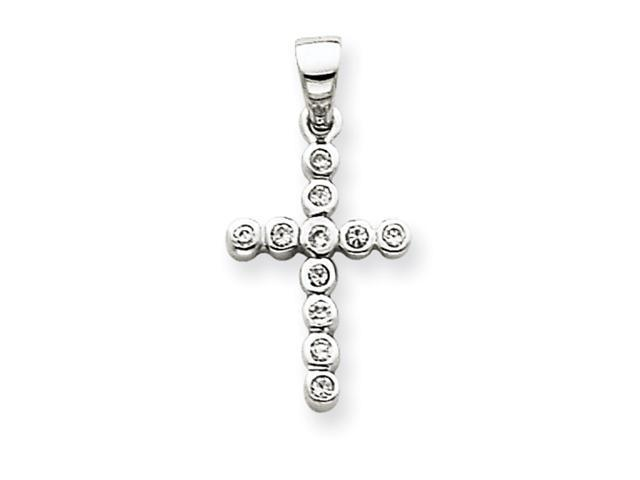 14k White Gold CZ Cross Pendant
