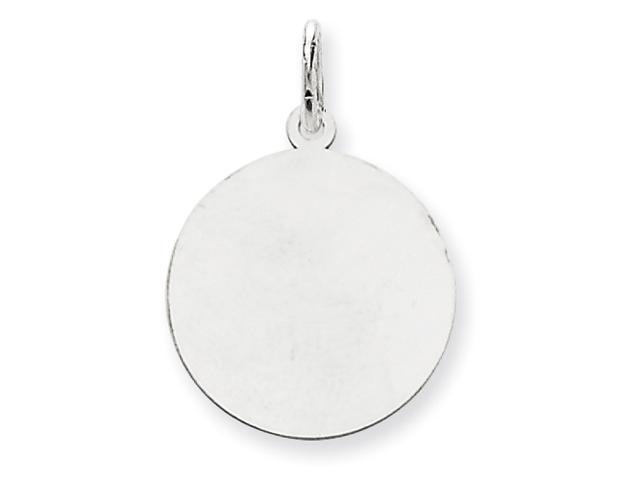 14K White Gold Round Disc Charm