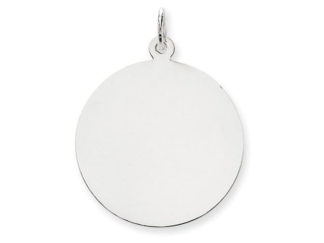 14k White Gold Plain .035 Gauge Round Engraveable Disc Charm
