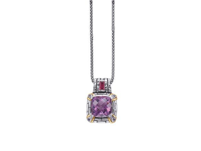 Alesandro Menegati 14K Accented Sterling Silver Necklace with Amethyst, Iolite and Rhodolite