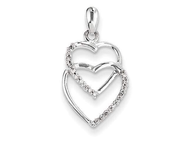 14K White Gold Diamond Two Large Entwined Hearts Pendant Diamond quality AA (I1 clarity, G-I color)