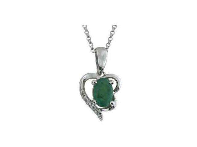 14K White Gold Emerald Diamond Necklace Diamond quality AA (I1-I2 clarity, G-I color)