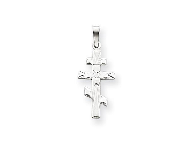 14k White Gold Eastern Orthodox Cross Charm