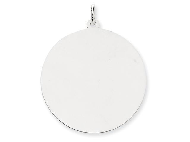 14k White Gold Plain .035 Gauge Round Engraveable Disc Charm