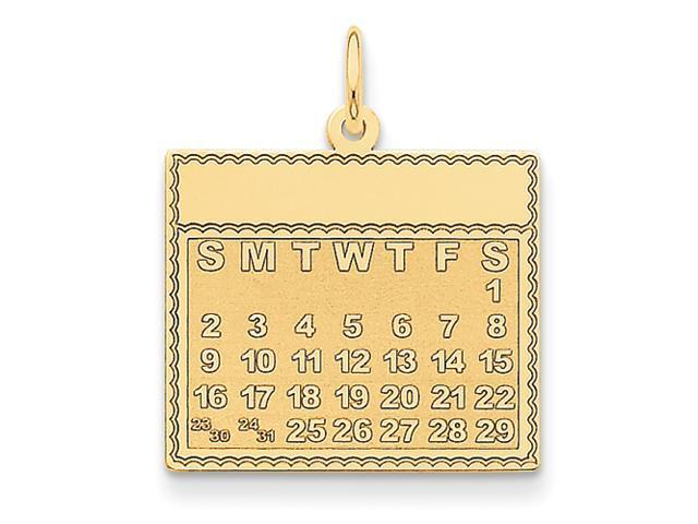 14k Saturday the First Day Calendar Pendant