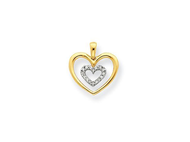 14k Two-tone Diamond Heart Pendant Diamond quality AA (I1 clarity, G-I color)