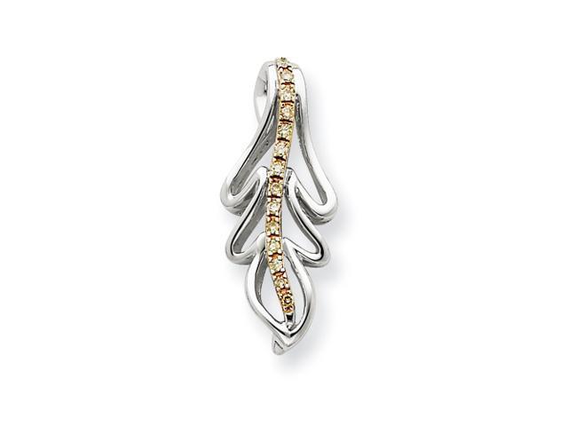 14K White Gold & Rhodium Diamond Pendant Diamond quality AA (I1 clarity, G-I color)