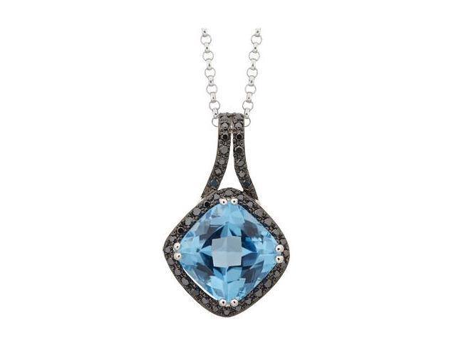 14K White Gold With Blue Topaz Diamond Necklace (Black color)