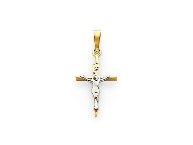 14k Two-tone INRI Crucifix Pendant