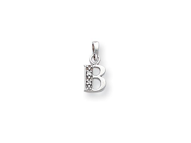 14k White Gold Polished .01ct Diamond Initial B Pendant