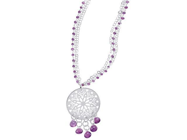Alesandro Menegati Sterling Silver Fashion Necklace with Amethysts