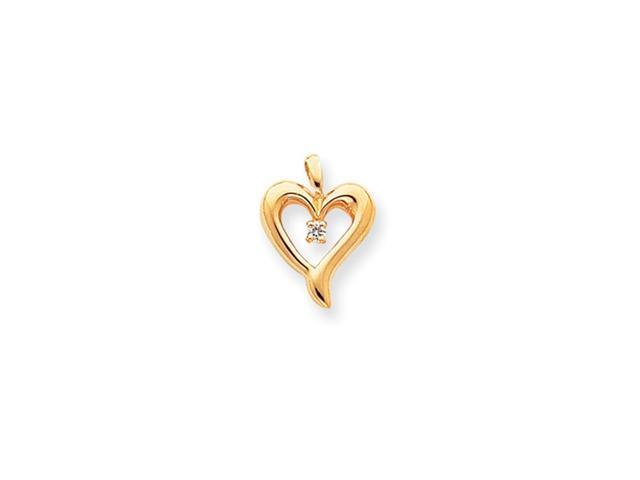 14k AA Diamond Heart Pendant Diamond quality AA (I1 clarity, G-I color)