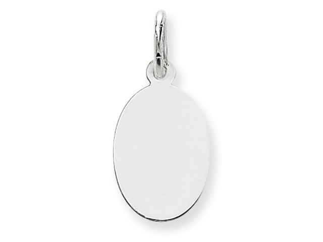 14k White Gold Plain .027 Gauge Oval Engraveable Disc Charm