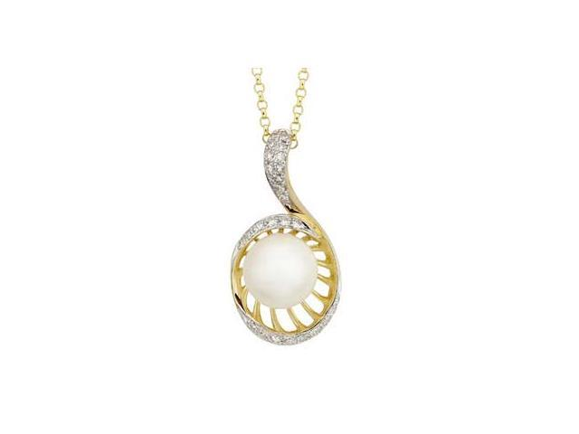 14K Yellow Gold Freshwater Pearl Diamond Necklace (SI2-I1 clarity, G-I color)