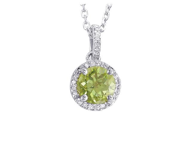 Alesandro Menegati Sterling Silver Circle Necklace with Diamonds and Peridot