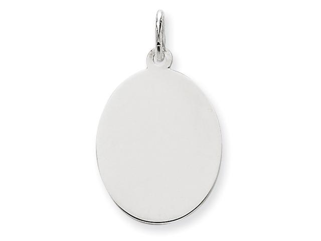 14k White Gold Plain .018 Gauge Oval Engraveable Disc Charm