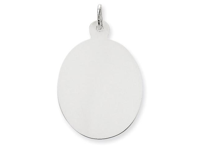 14k White Gold Plain .013 Gauge Oval Engraveable Disc Charm