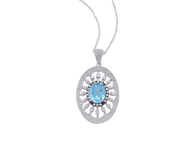 Alesandro Menegati Sterling Silver Oval Pendant Necklace with Diamonds and Blue Topaz